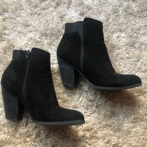 Mix No. 6, black suede ankle booties, size 8